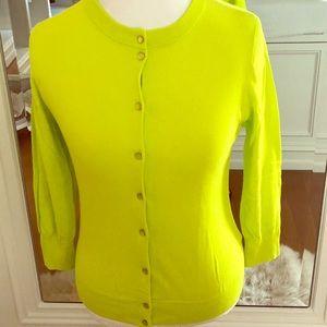 JCREW: Clare Cardigan COLOR:  Chartreuse